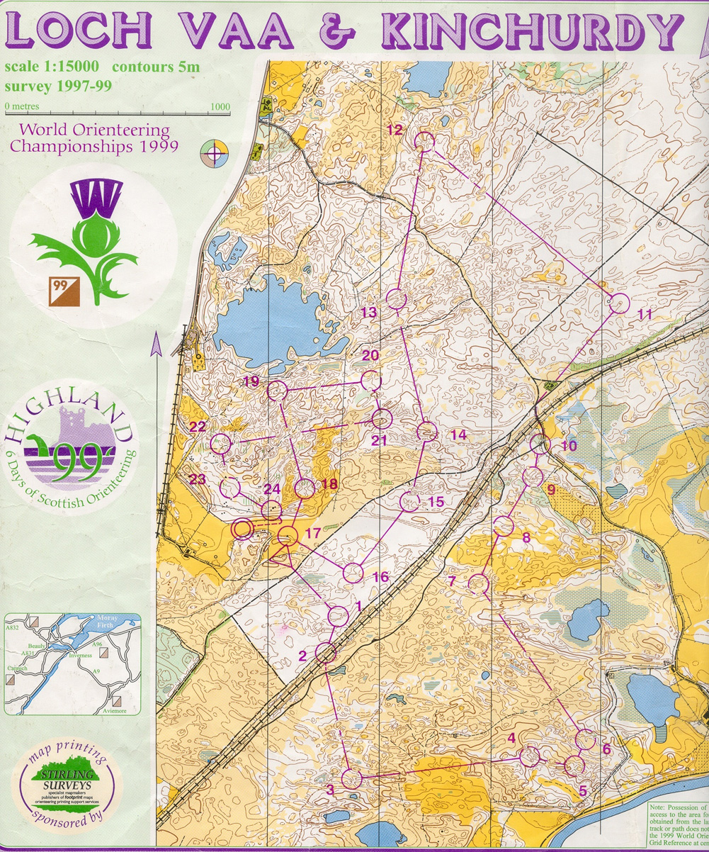 WOC 1999 Relay - January 1st 1999 - Orienteering Map from
